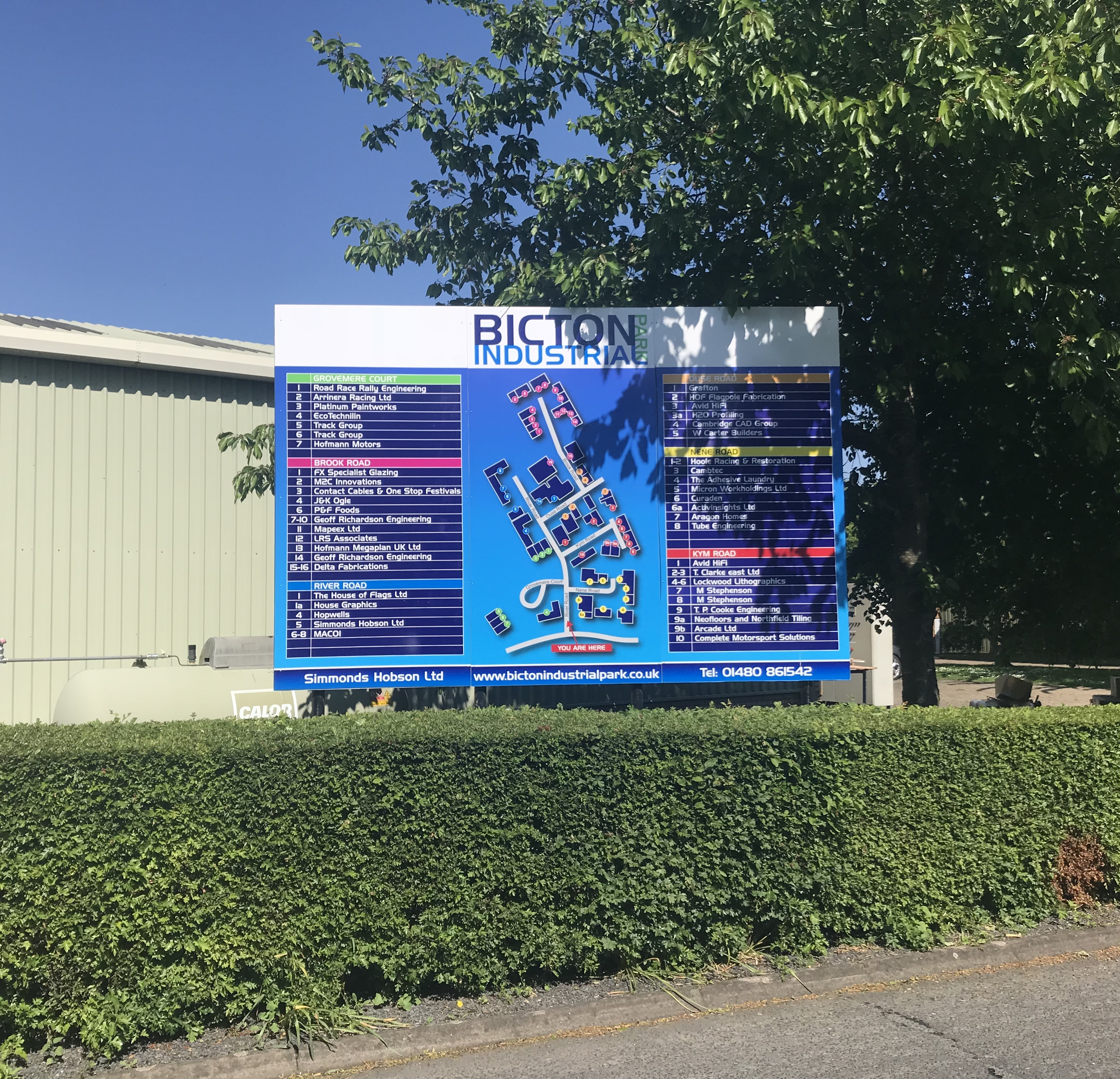 Industrial estate directional sign